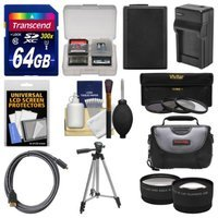 Essentials Bundle for Sony Alpha A6000 Digital Camera & 16-50mm Lens with 64GB Card + Case + NP-FW50 Battery & Charger + Tripod + 3 UV/CPL/ND8 Filters Kit