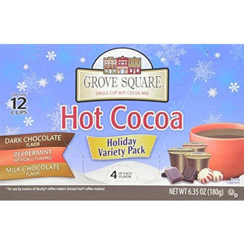 Grove Square Hot Cocoa, Variety Pack, 12 Single Serve Cups (Pack of 3)