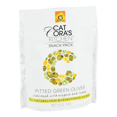 Cat Cora's Kitchen Snack Pack Pitted Green Olives Seasoned with Oregano and Lemon
