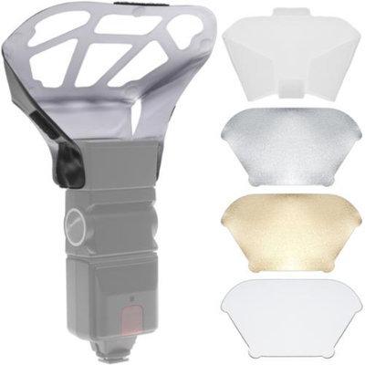 Precision Design Universal Flash Diffuser Bouncer with Interchangeable White/Gold/Silver Inserts plus Diffusion Screen