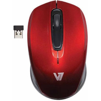 V7 MV3040-24G-RED-15NB MV3040 - Mouse - optical - 3 buttons - wireless - 2.4 GHz - USB wireless receiver - red - retail