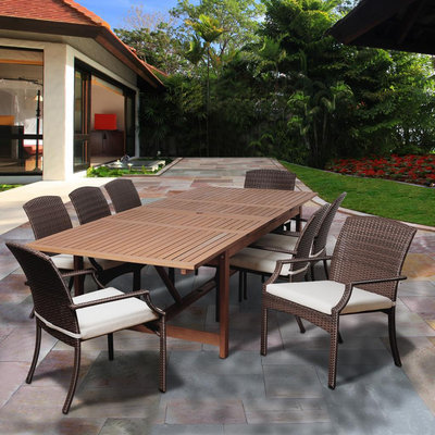 Arena 9 Piece Eucalyptus/Synthetic Wicker Extendable Rectangular Patio Dining Set with Off-White Cushions