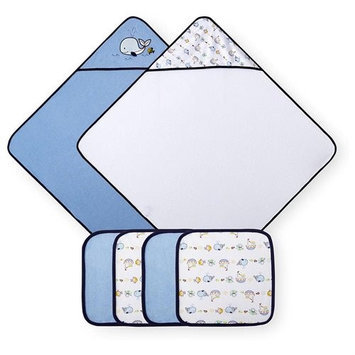 Koala Baby 2-Pack Towel and 4-Pack Washcloth Set Blue Whale