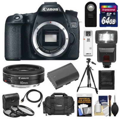 Canon EOS 70D Digital SLR Camera Body with 40mm f/2.8 STM Lens + 64GB Card + Battery + Case + 3 Filters + Flash + Remote + Tripod + Kit