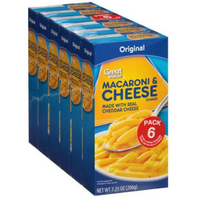 Wal-mart Stores, Inc. Great Value Original Macaroni & Cheese Dinner, 7.25 oz, (Pack of 6)