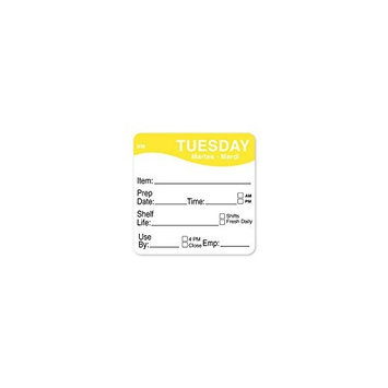 DAYMARK 1122122 Day Label, Tuesday,3-2/7 In. W,PK500
