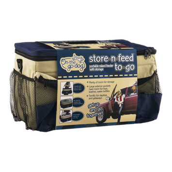 On-The-Go-Dog Store-N-Feed-To-Go Portable Raised Feeder with Storage