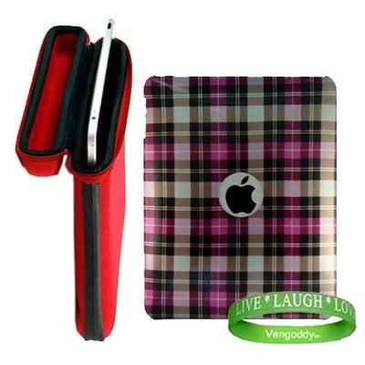 Apple iPad Ruby Red Snug Fit Canteen Style Hard Cube Case with Tilt Stand for Apple Ipad Tablet ( 3G , wifi , WiFi + 3G, MB292LL/A Tablet ) + Stylishly Designed Pink Plaid iPad Hard Snap On Case + VG Live * Laugh * Love Silicone Wrist band!!!