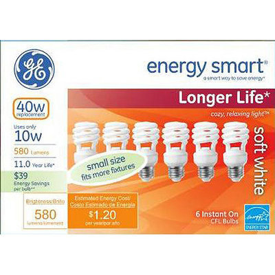 GE energy smart® spiral® CFL 10 watt T2 spiral 6-pack