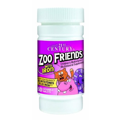 21st Century Zoo Friends with Iron Chewable Tablets, 60-Count (Pack of 2)