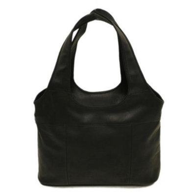 Piel Leather Laptop Hobo Bag w Padded Compartment in Chocolate