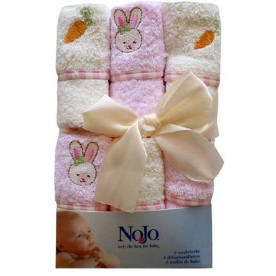 Nojo Character Bath Collection 6 Pack Embroidered Woven Terry Washcloth Set, Bunny