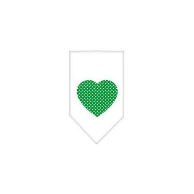 Ahi Green Swiss Dot Heart Screen Print Bandana White Small