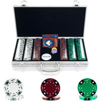 Trademark Poker 300 14g Tri Color Ace/King Suited Chips in Aluminum Case