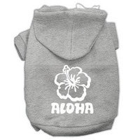 Mirage Pet Products Aloha Flower Screen Print Pet Hoodies Grey Size XL (16)