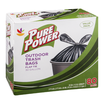 Pure Power Trash Bags Outdoor Flap Tie 30 Gal - 80 CT