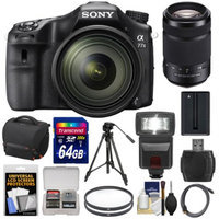 Sony Alpha A77 II Wi-Fi Digital SLR Camera & 16-50mm Lens with 55-300mm Lens + 64GB Card + Battery + Case + Tripod + Flash + Filters + Kit