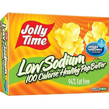Jolly Time Low Sodium Healthy Pop Butter - 100 Calorie Microwave Popcorn Mini Bags, 4-Count Boxes, 4.8 oz, (Pack of 12)