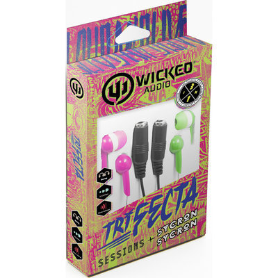 Wicked Audio Trifecta Headphones Bundle Green/Pink - M-SQUARED