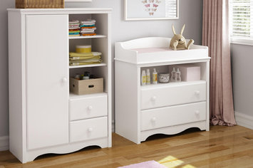 Southshore Heavenly Changing Table and Armoire with Drawers, Pure White