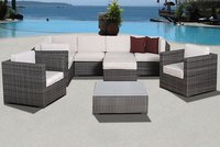 Atlantic Caribbean 9 pc Grey Synthetic Wicker Patio Seating Set with Off-White Cushions Gray