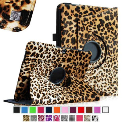 Fintie Rotating Leather Case Cover For Samsung GALAXY Tab 4 10.1 inch Tablet, Leopard Brown