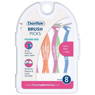 DenTek Narrow Brush Pick 8-count, (Pack of 6)