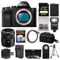 Sony Alpha A7 Digital Camera Body with Sonnar T* FE 55mm f/1.8 ZA Lens + 64GB Card + Case + Flash + Battery/Charger + Tripod Kit