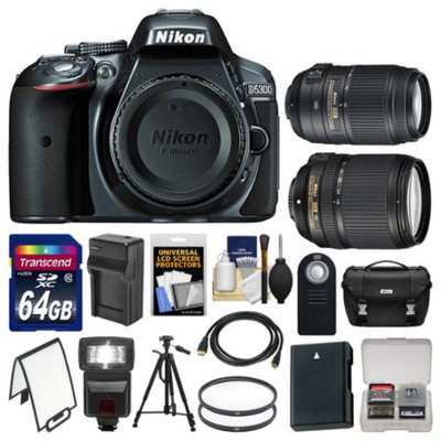 Nikon D5300 Digital SLR Camera Body (Grey) with 18-140mm VR & 55-300mm VR Zoom Lens + 64GB Card + Case + Flash Kit