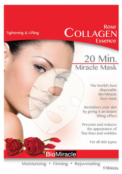 Cam Consumer Products, Inc. Bio-Miracle Anti-Aging & Moisturizing Face Mask, Rose Collagen, 5 pack