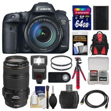 Canon EOS 7D Mark II GPS Digital SLR Camera & EF-S 18-135mm & 70-300mm IS Lens + 64GB Card + Backpack + Flash + Battery + Tripod + Kit