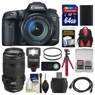 Canon EOS 7D Mark II GPS Digital SLR Camera & EF-S 18-135mm & 70-300mm IS Lens + 64GB Card + Backpack + Flash + Battery + Tripod + Kit