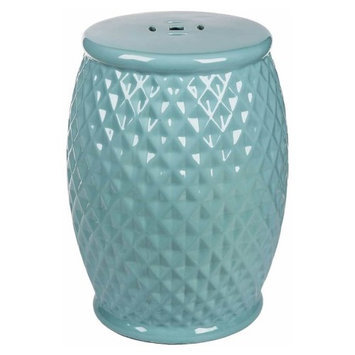 Abbyson Living Royala Tufted Ceramic Garden Stool in Robbins Egg
