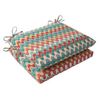 Pillow Perfect Outdoor 2-Piece Square Seat Cushion Set - Red/Turquoise Chevron