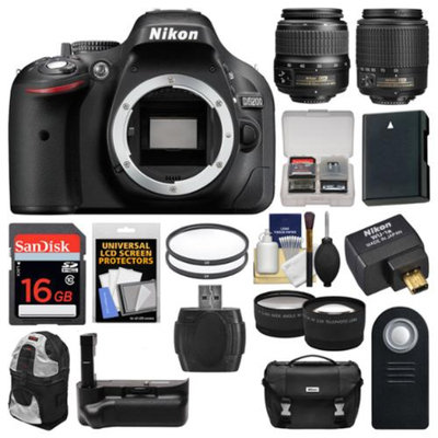 Nikon D5200 Wi-Fi Digital SLR Camera with 18-55mm, 55-200mm Lenses, WU-1a, Bag & Card (Black) + Case + Battery & Grip + Filters + Tele/Wide Lens Kit