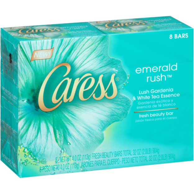 Caress Bar Soap, Emerald Rush, 8 ea
