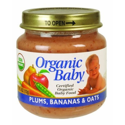 Organic Baby Organic Baby Food, Plums, Bananas & Oats, 4-Ounce Jars (Pack of 24)