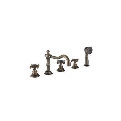 L'Oréal Antique Brass Finish Tub Faucet with Hand Shower