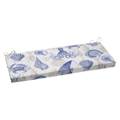 Pillow Perfect Outdoor Bench Cushion - Blue/Tan Sealife