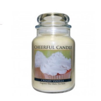 A Cheerful Candle JC108 15Oz. Creamy Vanilla Signature Colonial Jar