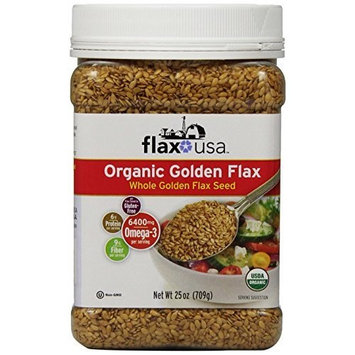 Flax Usa Organic Whole Golden Flax Seed, 25-Ounce Canister (Pack of 4)