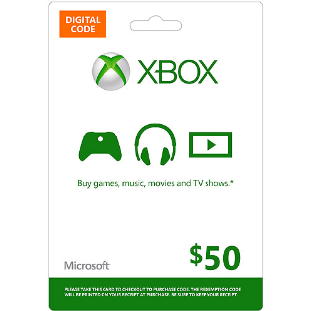 Microsoft Xbox Live Digital Gift Card $50 (Email Delivery)