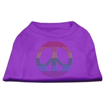 Mirage Pet Products 5270 XLPR Rhinestone Rainbow Peace Sign Shirts Purple XL 16