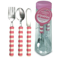 Pencil Grip Gripable Comfortable Cutlery, Fork, Knife, Spoon with Gripable Handles, Pink and White Handles, TPG-640P