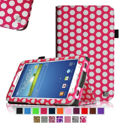 Fintie Folio Classic Leather Case for Samsung Galaxy Tab 3 7.0 inch Tablet, Polka Dot Pink