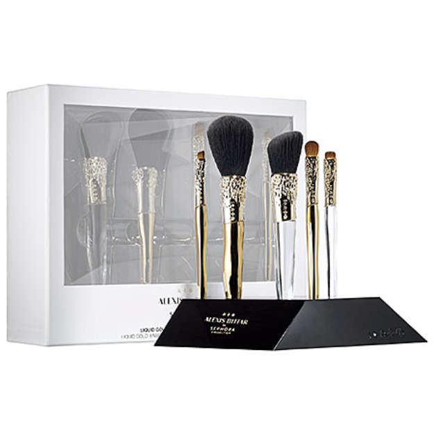 SEPHORA COLLECTION ALEXIS BITTAR LIQUID GOLD: BEAUTY BRUSH SET + STAND