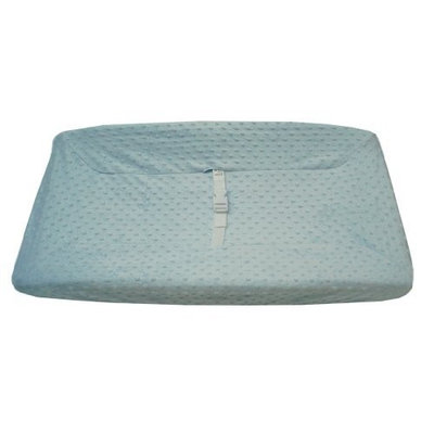 American Baby Company Heavenly Soft Minky Dot Fitted Contoured Changing Pad Cover, Blue Puff