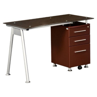 RTA Products Writing Desk: Techni Mobili Glass Desk with Storage Cabinet -