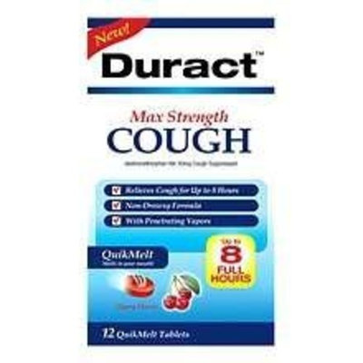 Duract Cough, Max Strength, QuikMelt Tablets, Cool Mint Flavor 12 tablets