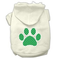 Mirage Pet Products Green Swiss Dot Paw Screen Print Pet Hoodies Cream Size XXL (18)